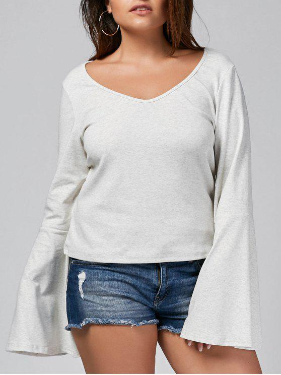 new Bell Sleeve Plus Size Heathered T-shirt - GREY WHITE 3XL