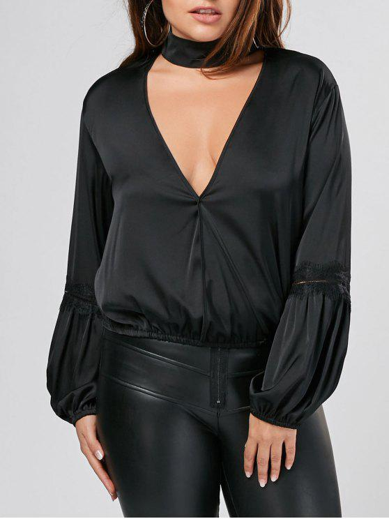 buy Puff Sleeve Plus Size Choker Top - BLACK 5XL