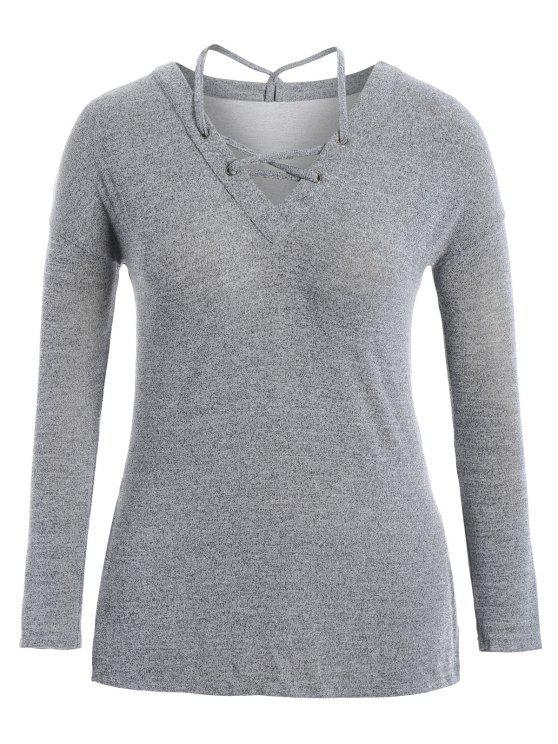 Slit Plus Size Strappy Camiseta - Gris Claro 2XL