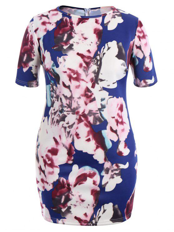 sale Side Slit Plus Size Floral Bodycon Dress - FLORAL XL