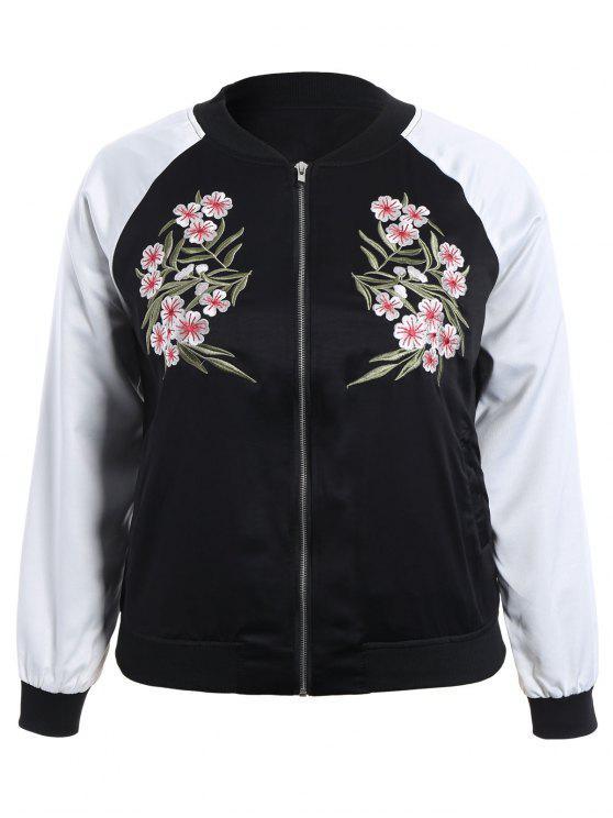 lady Plus Size Embroidered Raglan Sleeve Baseball Jacket - BLACK 2XL