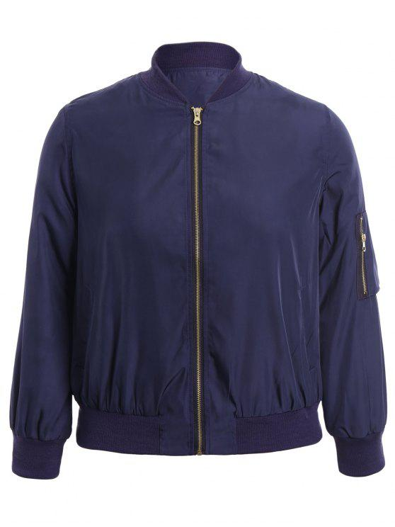 shop Plus Size Zippered Bomber Jacket - BLUE XL