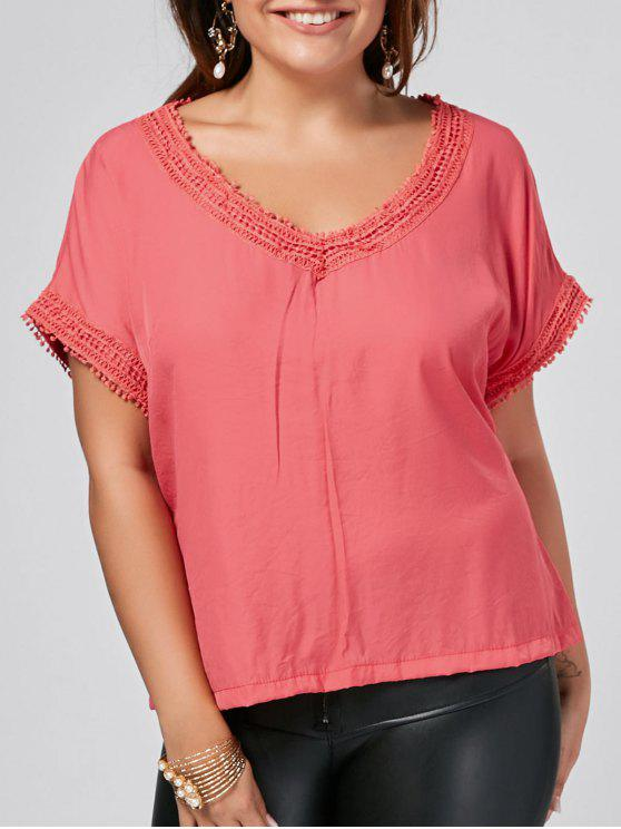Batwing Plus Size Lace Trim Top - Vermelho do Pêssego 2XL