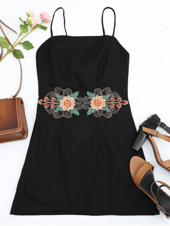hot Floral Patched Cami Dress - BLACK L