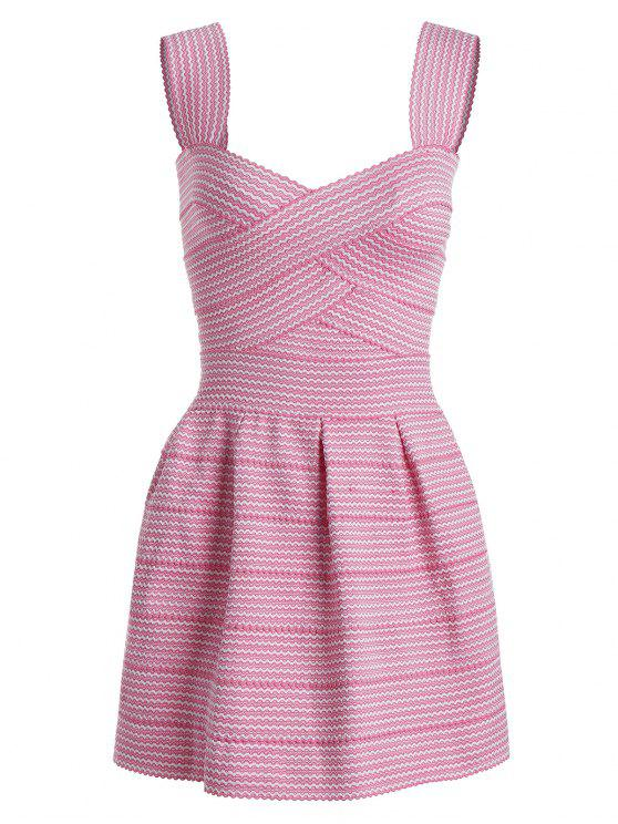 trendy Sweetheart Neck Puffball Mini Dress - PINK ONE SIZE