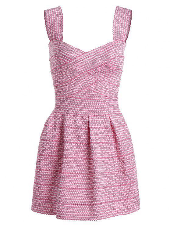 trendy Sweetheart Neck Puffball Mini Dress - PINK ONE SIZE