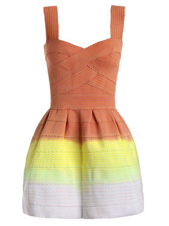 chic Sweetheart Neck Ombre Mini Dress - ORANGE ONE SIZE