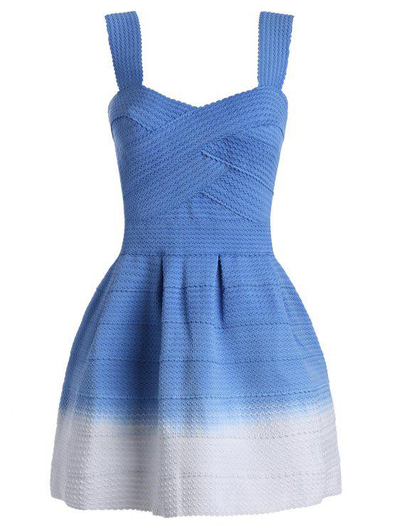 fancy Sweetheart Neck Ombre Mini Dress - BLUE ONE SIZE