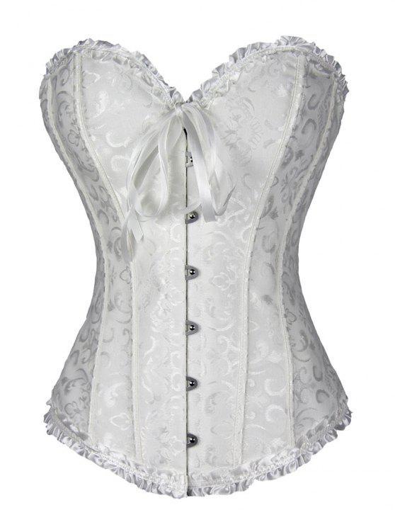 الدانتيل يصل بروكيد مشد مع ثونغ اللباس الداخلي - أبيض XL
