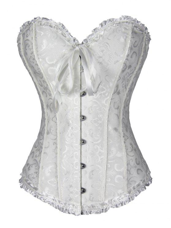 sale Lace Up Brocade Corset With Thong Panty - WHITE M