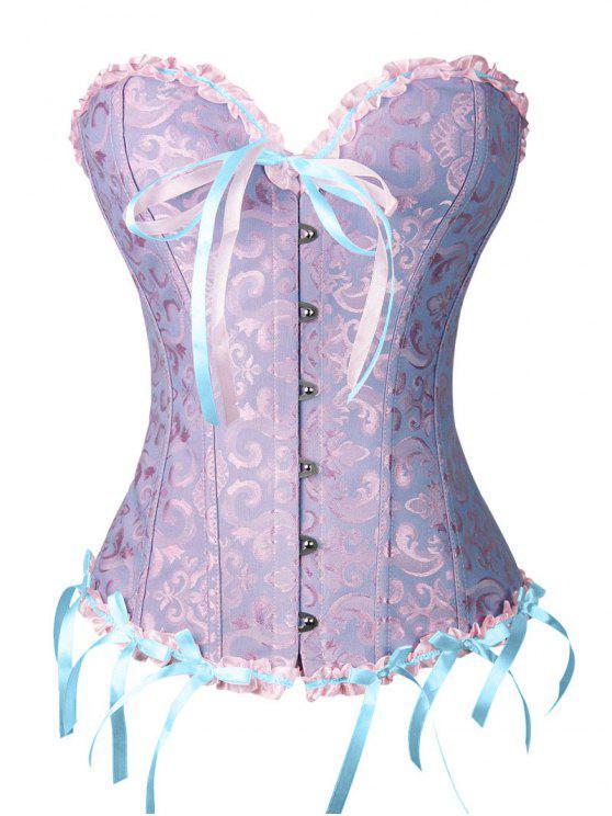Corset à gorge noire Bowknot avec string - Bleu et Rose S