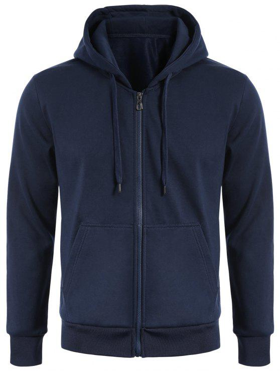 Drawstring Kangaroo Pockets Zip Up Hoodie - Schwarzblau XL