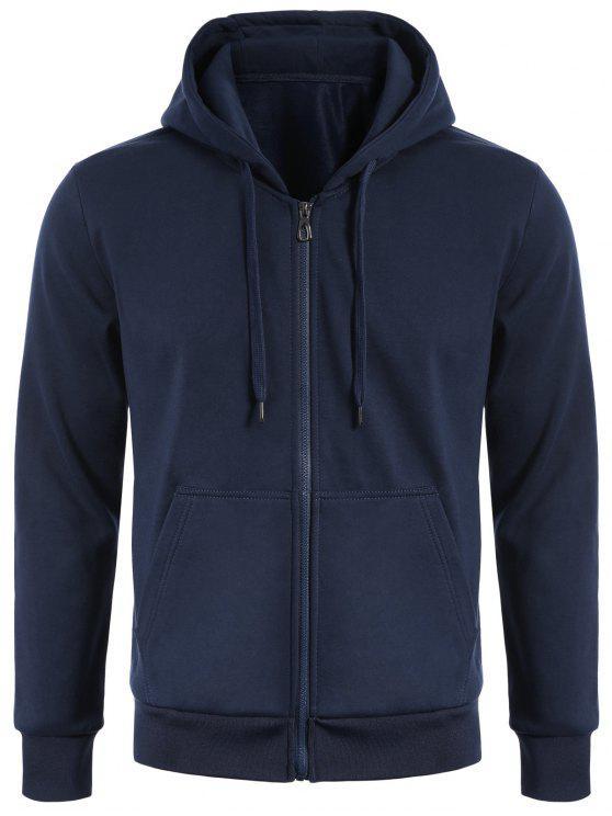 trendy Drawstring Kangaroo Pockets Zip Up Hoodie - PURPLISH BLUE L
