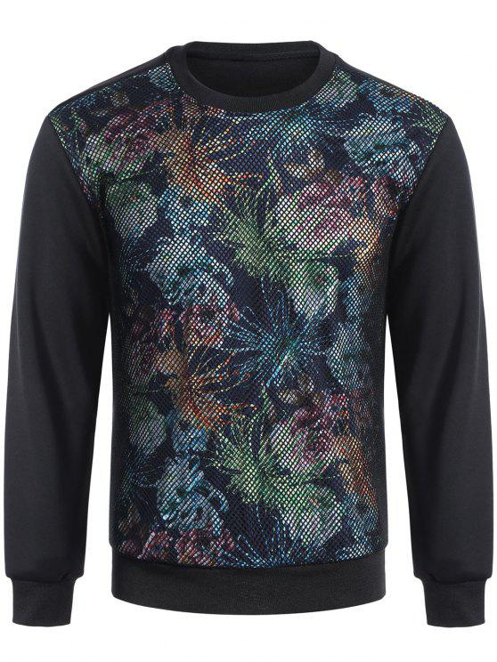 womens Pullover Fishnet Panel Printed Sweatshirt - BLACK M