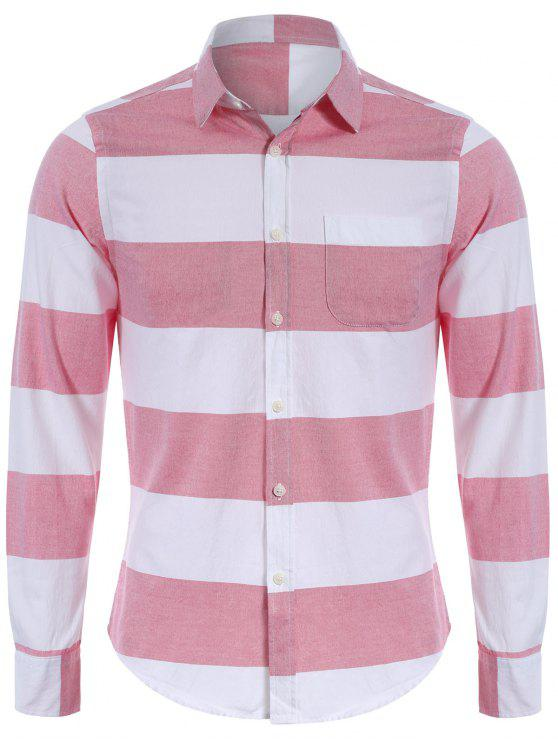 lady Single Breasted Pocket Striped Shirt - RED AND WHITE 3XL