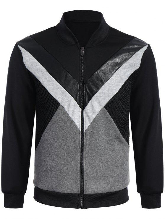 Jacke aus PU Leder mit Reißverschluss und Patchwork - Schwarz L