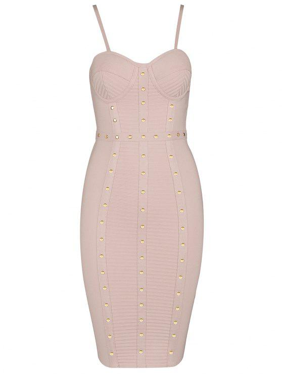 best Embellished Cami Bandage Dress - PINK L