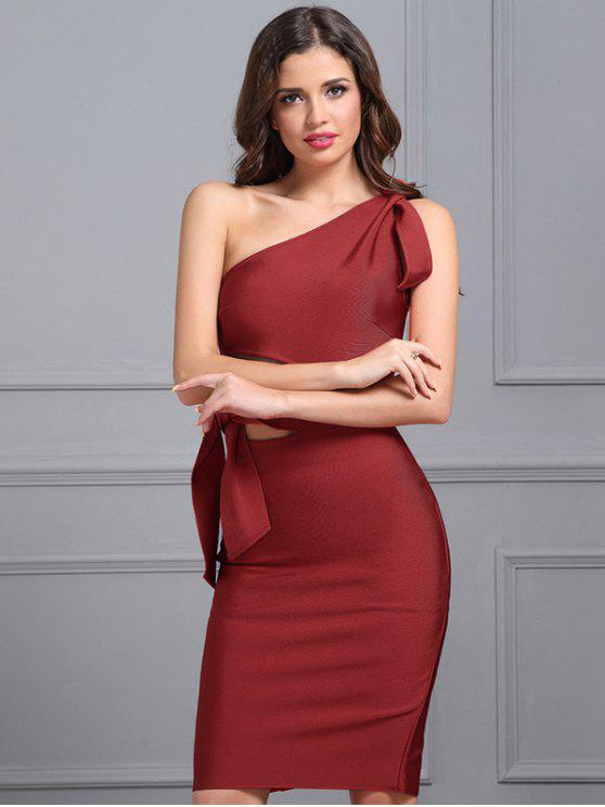 fancy One Shoulder Cut Out Fitted Dress - RED S