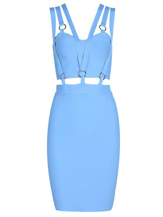 lady Zippered Cut Out Fitted Dress - SKY BLUE S