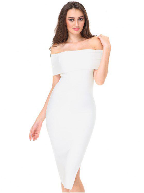 فستان ملائم بلا اكتاف جانب الانقسام - أبيض L