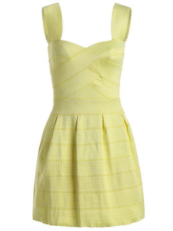 فستان الرقبة على شكل القلب بقماش الجاكار - الأصفر حجم واحد