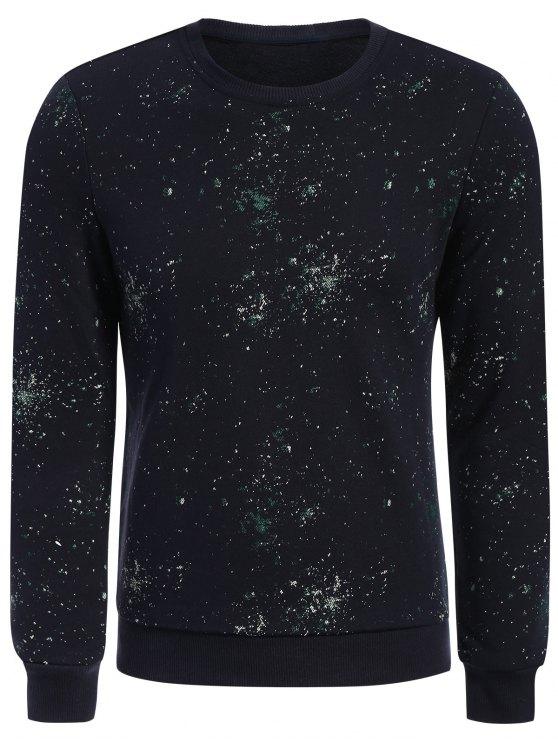 fancy Patterned Jewel Neck Pullover Sweatshirt - DEEP BLUE XL