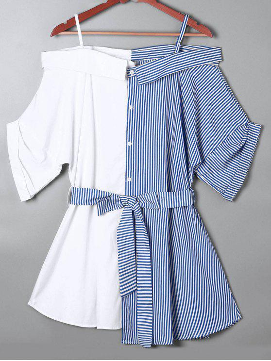 Fora da Blusa de Riscas de Ombro - Azul 2XL