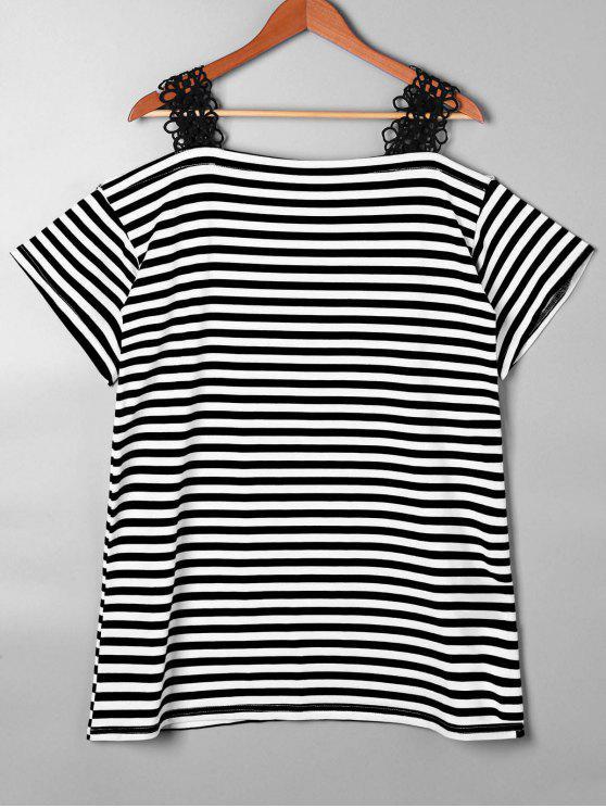T-shirt à rayures à épaule à rayures en dentelle - Noir L