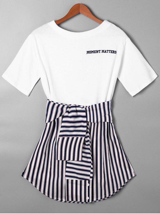 trendy Striped Tie Belt Curved Hem Tee Dress - PURPLISH BLUE 2XL