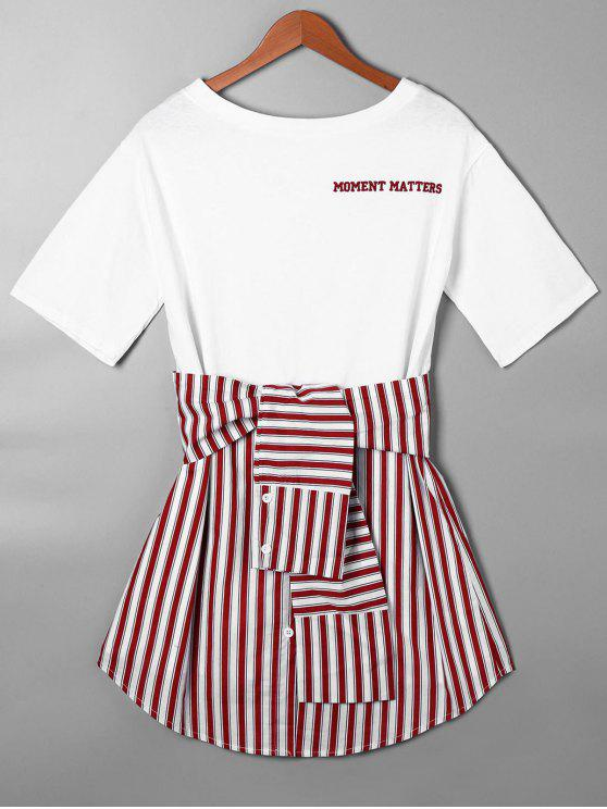 unique Striped Tie Belt Curved Hem Tee Dress - RED M