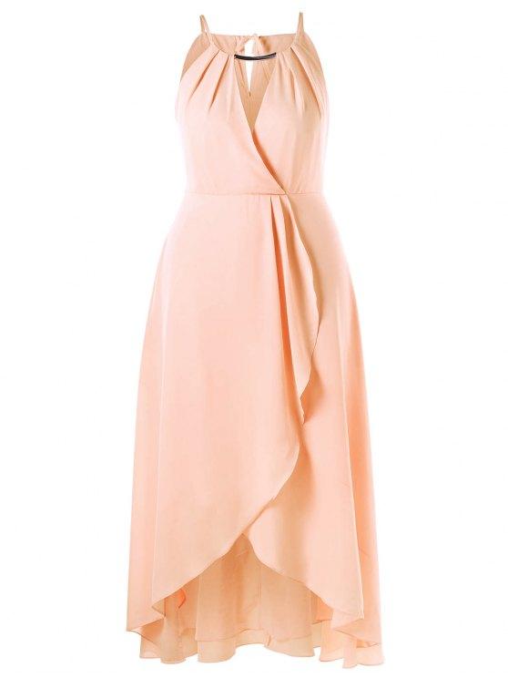 Plus Size Cut Out Overlap Flowing Dress PINKBEIGE