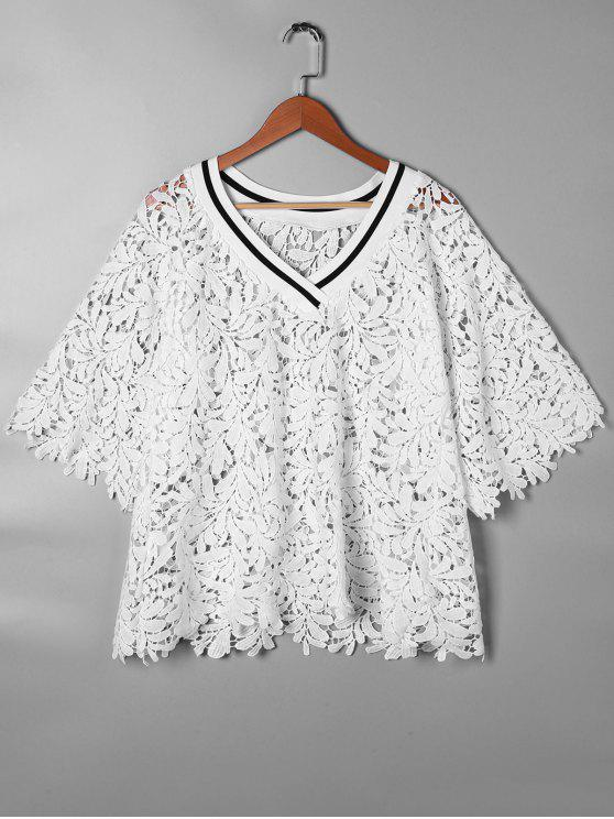 1afda92f717008 24% OFF  2019 V Neck Cutwork Lace Blouse In WHITE