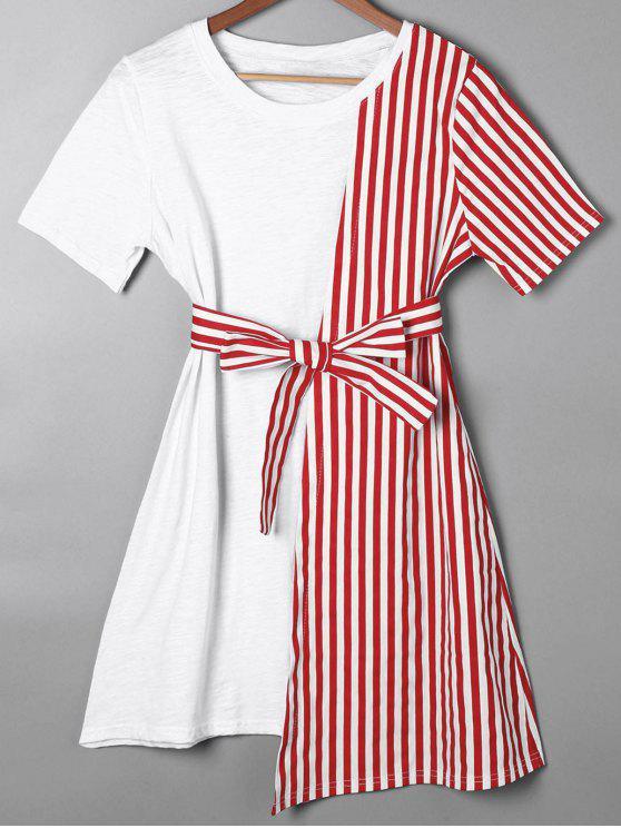 ladies Striped Asymmetrical Mini Tee Dress - RED L