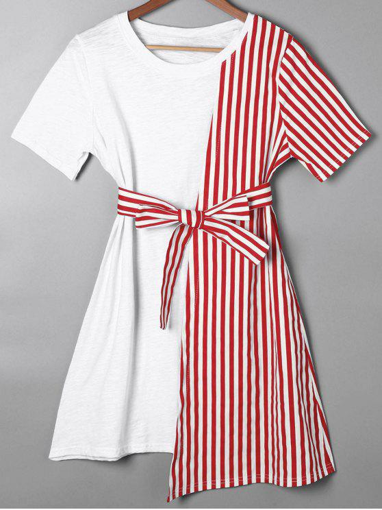 best Striped Asymmetrical Mini Tee Dress - RED 2XL