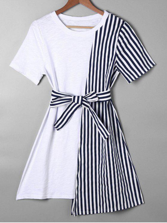 hot Striped Asymmetrical Mini Tee Dress - BLUE L