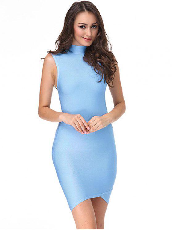 trendy Sleeveless High Neck Bodycon Dress - SKY BLUE L