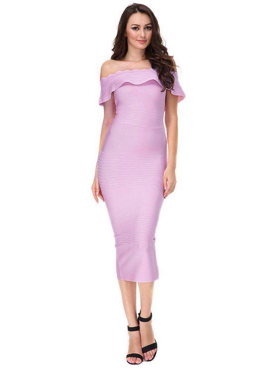 fancy Off The Shoulder Flounce Bandage Dress - PINKISH PURPLE L
