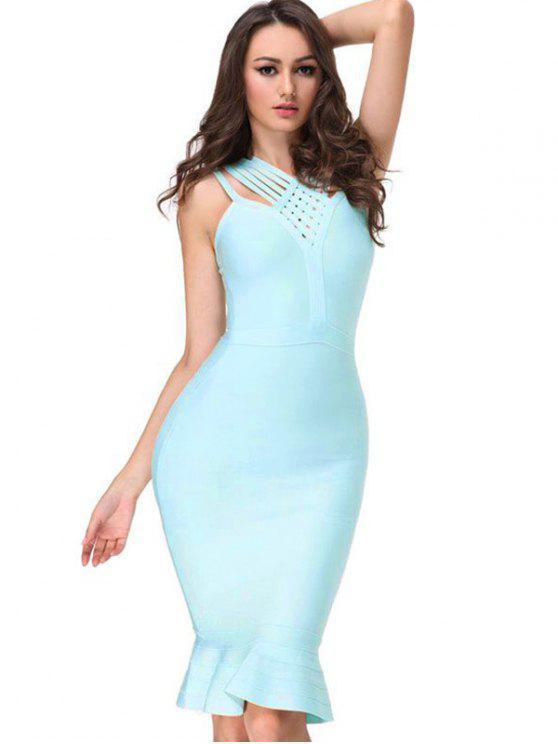 V cuello vestido de vendaje cabido - Cielo Azul S