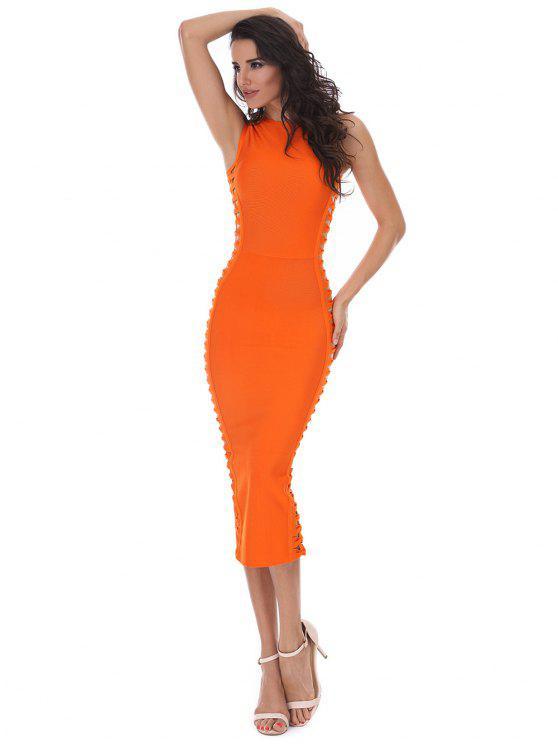 Hollow Out sin mangas Slice vendaje vestido - Naranja M