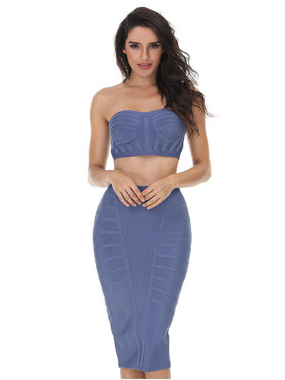 outfits Strapless Bandeau Top and Sheath Skirt Set - BLUE GRAY L