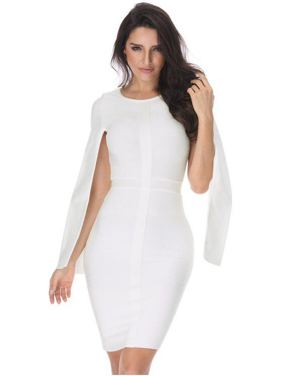 Slit Sleeve Plain Bandage Dress - Branco M