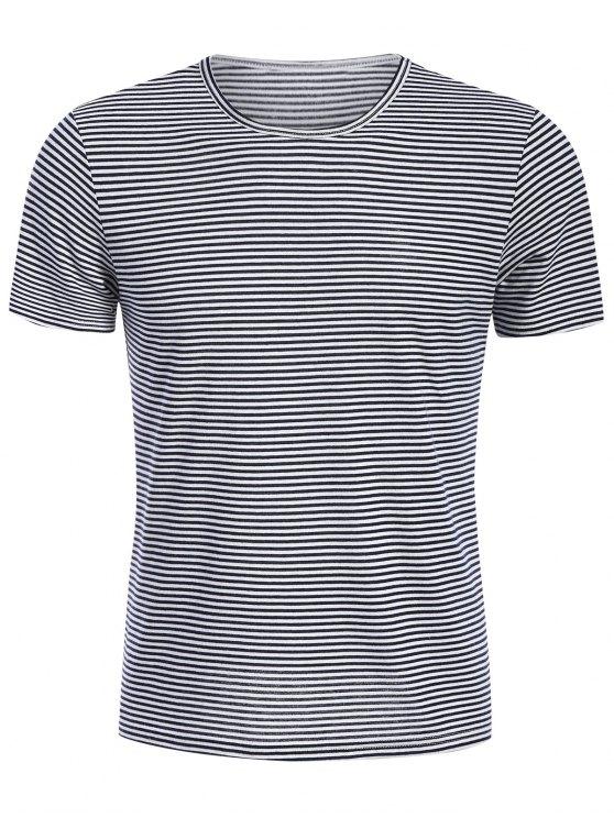 T-shirt Jersey Col Rond à Rayures - Blanc et Noir 2XL
