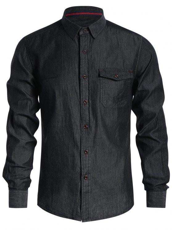 Bolsillo de un solo pecho de camisa de mezclilla - Negro XS