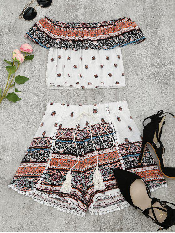 best Flounce Tribal Print Top and Shorts Set - MULTI M
