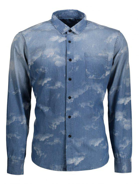 online Pocket Tie Dyed Denim Shirt - BLUE XS