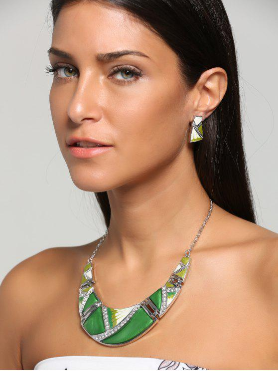 Boho Geometrical Spliced ​​Faux Gem Collar y Pendientes - Verde