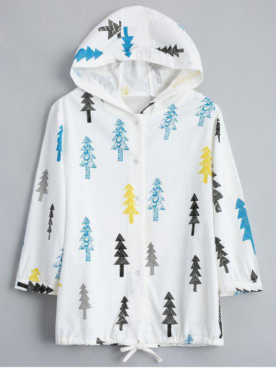 Botón de impresión de árbol hasta chaqueta con capucha - Blancuzco Talla única