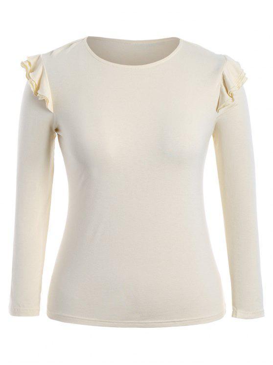 chic Cotton Plus Size Layered Ruffles Top - LIGHT YELLOW XL
