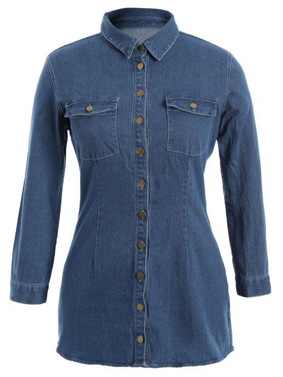 shops Button Down Jean Plus Size Shirt with Pockets - DENIM BLUE 3XL
