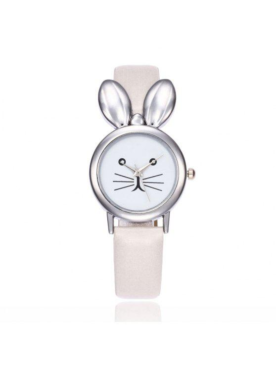 Faux Leather Strap Rabbit Ears Watch - Blanc